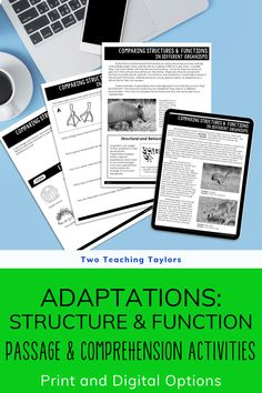 Don't let a taking a sub day put you behind in your science lesson plans. Never lose a day with these fun adaptations activities and reading passages for 4th grade and 5th grade science students. Includes an original text, comprehension questions, sorting activities and a quiz for assessment. Easy to assign with the digital version. Or print out the adaptations activities to use with your kids. 5th Grade Science, Science Student, Elementary Science, Teaching Science, Comprehension Activities, Comprehension Questions, Science Lesson Plans, Science Lessons, Structure And Function