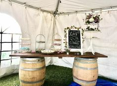 Wine barrel dessert bar full of delicious sweets for the bride and groom's guests!