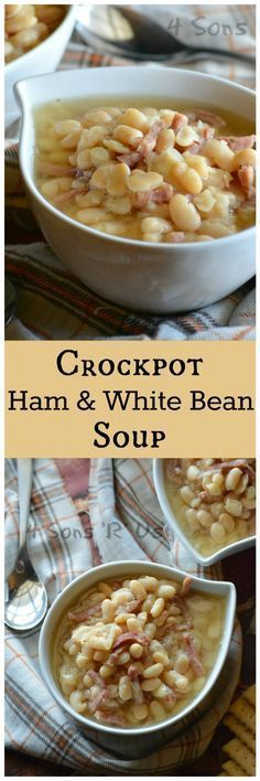 This Crockpot Ham & White Bean Soup is an easier, set it and forget it variation of the classic. It's super simple with a very short ingredient list, which can make it quite a delightful surprise when (Sausage Recipes Crockpot) Crock Pot Soup, Crockpot Dishes, Crock Pot Slow Cooker, Crock Pot Cooking, Slow Cooker Recipes, Crockpot Recipes, Cooking Recipes, Ham Recipes, Crock Pot Beans