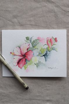 ¡Rosa y Magenta hibiscos acuarela! Original o impresión, favor de indicar cuando usted compra si quieres un original o impresión. Sólo puede solicitar varias tarjetas para imprimir (no de un original). Esta es una tarjeta de felicitación acuarela pintada a mano en 140 libras. ácido
