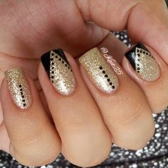 Coat your nails in plush golden silver nail tint for an ultra glamorous style. Add black dotted strips and angled tips for an edgy finish. Check out these must haves to DIY this fabulous manicure.