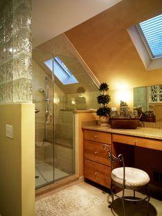 """good idea for the attic bath shower"" ""Nice use of attic space for small bath, skylight, makeup vanity."" ""bathroom in the attic"" ""really nice attic bathroom"" ""use in loft space...Attic bathroom...Loft"