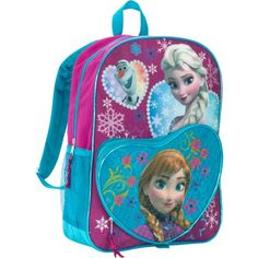 Disney Frozen 16'' Deluxe Heart Shaped Anna, Elsa, and Olaf Kids Backpack