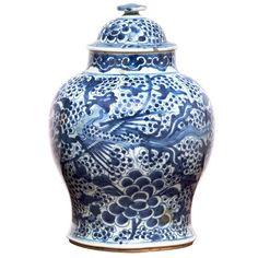 19th Century Blue & White Temple Jar