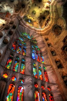 """La Sagrada Familia. Antoni Gaudi. Barcelona, Spain. Gaudi started work on the project in 1883. Building still under construction. (Est. completion 2026)."""