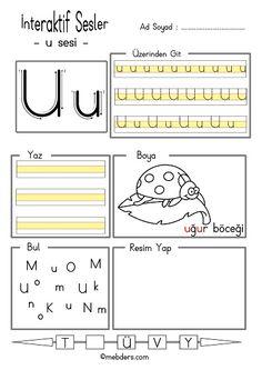 İnteraktif u sesi etkinliği Alphabet Worksheets, Kindergarten Worksheets, Alphabet For Kids, Learn English Words, Primary School, Montessori, Preschool, Writing, Learning
