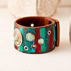 New Years Eve Bracelet Cuff Leather Jewelry Wristband by rainwheel, $60.00