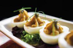 Uni Deviled Eggs at Golden Cadillac, New York City