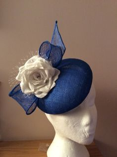 ac55f31b1484d all blue cocktail hat BY HELEN TILLEY  millinery  hats  HatAcademy Sinamay  Hats