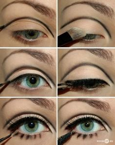 Eye Make Up Ideas - this looks unfinished, but it would make a good start for stage makeup. Reminds me of old school ballet makeup.