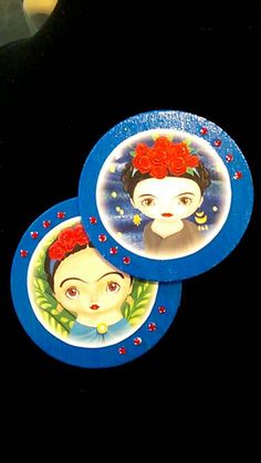 Check out this item in my Etsy shop https://www.etsy.com/listing/454295082/frida-kahlo-blue-wood-magnet-set2