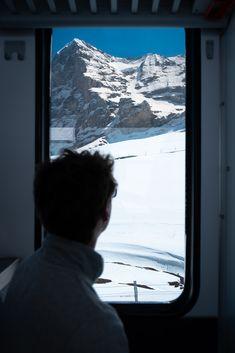 Taking the train through Jungfrau, Switzerland Train Route, By Train, Swiss Travel Pass, Scenic Train Rides, Switzerland Cities, Jungfraujoch, Snowy Mountains, Train Travel, Men Looks