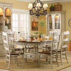 hooker furniture summerglen seven piece round dining table with one pass through drawer amp: seven piece dining set
