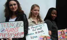 Teens protest against Photoshop use outside Seventeen magazine offices