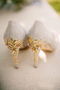 Beige Harriet Wilde Shoes with Gold Heel Decor | Images by Jo Bradbury Photography