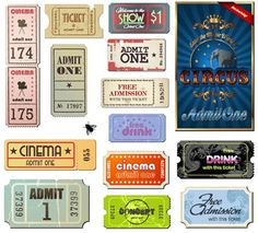 Vintage Movie ticket vector set on Web Design Hot Printable Labels, Printable Paper, Free Printables, Ticket Cinema, Theater Tickets, Etiquette Vintage, Overlays, Papel Scrapbook, Movie Tickets