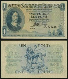 1959 South African Reserve Bank One Pound Banknote Pick Number About Uncirculated Currency Note South Afrika, One Pound, Old Money, History Timeline, World Coins, African History, My Land, Silver Quarters, Stamps