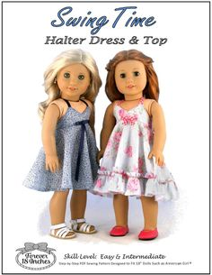 Pixie Faire Forever 18 Inches Swing Time Halter Dress and Top Doll Clothes Pattern for 18 inch American Girl Dolls - PDF