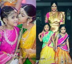 Wedding fashion for kids – A Guide Golden Lehnga, Kids Blouse Designs, Western Dresses, Half Saree, Wedding Styles, Kids Fashion, That Look, Sari, Cute