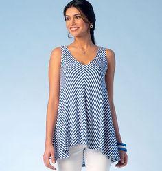 Breezy, flowy tunic from Kwik Sew. K4101, Misses' Tops sewing pattern.