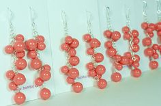 Coral Chandelier Pearl Earrings Bridesmaids Pumpkin by bonitaj