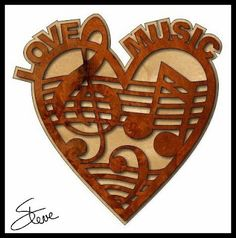 music love pattern for woodworkers. Scrollsaw Workshop: Love Music Scroll Saw Pattern.  http://scrollsawworkshop.blogspot.com/2014/07/love-music-scroll-saw-pattern.html