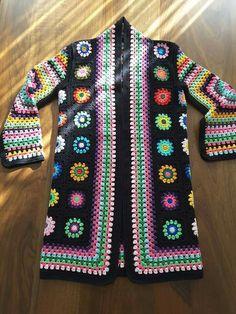 Black granny square coat