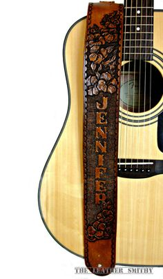 Hibiscus Flower Leather Guitar Strap by TheLeatherSmithy on Etsy