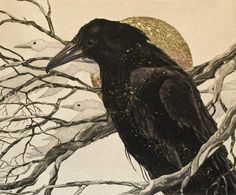 """Beki Killorin, """"A Raven's Tale,"""" original etching with gold leaf embellishment, 10 x 12 in."""