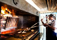 restaurants that cook with wood grill Wood Grill, Fire Grill, Bbq Grill, Grilling, Parilla Grill, Asado Grill, Commercial Kitchen Design, Open Fire Cooking, Fire Food