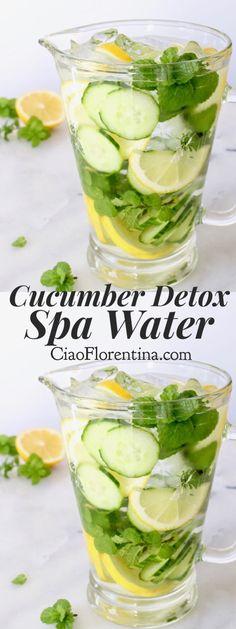 Cucumber Detox Spa Water with Lemon and Mint + Ideas and Benefits | CiaoFlorentina.com @CiaoFlorentina