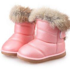 Kids Boots Children's Rubber Boots Winter Children Thicken Plush Snow Boots Child Warm Leather Short Baby Infant white shoe