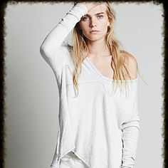 We the Free Sunset Park Thermal Gently worn thermal w textured stretch fabric swing silhouette subtle high low hem side vents raw hem price reflects this top in that not brand new but gently worn this top when purchased new had the distressed look and feel to it which I love  extra pics on request Free People Tops Tees - Long Sleeve
