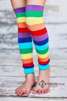 Leg Warmers  Rainbow Stripes by BmodDesigns on Etsy