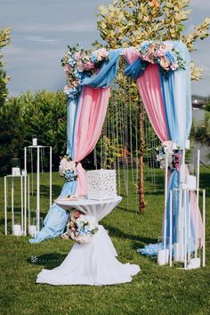 Our Outdoor Wedding Arch Backdrop drapes are perfect for a spring and summer wedding. With pastel blue and pink drape curtains, this is a great wedding ceremony decoration for an outdoor garden wedding ceremony or wedding reception. Add a soft touch to your wedding with our elegant wedding backdrop. #weddingarch #weddingarchideas #weddingarchesoutdoors #weddingarchdiy #weddingarchway Outdoor Wedding Backdrops, Diy Wedding Backdrop, Outdoor Wedding Decorations, Ceremony Decorations, Blue Wedding, Spring Wedding, Garden Wedding, Elegant Wedding, Wedding Reception