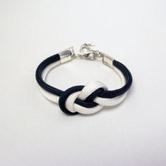 navy blue and white nautical parachute cord bracelet with silver anchor charm // $12.00 in my etsy shop www.ammame33.etsy.com