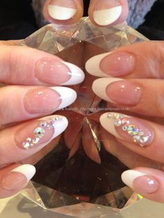 Eye Candy Nails & Training - Acrylic overlays with white tips and Swarovski crystal ring finger nail art by Elaine Moore on 16 April 2013 at Bridal Nails French, French Nails, Ring Finger Nails, Finger Nail Art, Crazy Nail Art, Crazy Nails, Bridal Pedicure, Swarovski Nails, Swarovski Crystals