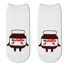 "New Fashion Funny Print White ""nutella"" Socks Cute Food Character Unisex Cotton Socks Kawaii Women Mujer Cartoon Ankle Sox Cotton Socks, Ankle Socks, Cute Food, New Fashion, 3d Printing, Kawaii, Cartoon, Unisex, Impression 3d"