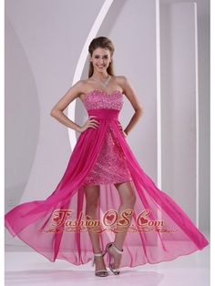 High-low Paillette Over Skirt Hot Pink Prom Evening Dress With Sweetheart- http://www.fashionos.com  2013 popular prom dress for formal evening | prom dress for formal evening | prom dress for graduation | prom dress for débutante balls | debutante and cotillion dresses | customize prom dress | unique high low prom dress | 2013 high low prom dress | front short back long dress | cheap prom dress under 150 |