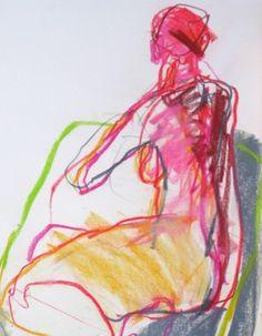 Pink Ponytail - pastel/conte & graphite,  Jane Lewis
