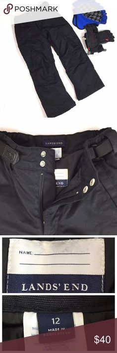 """LANDS END KIDS SIZE 12 SNOW PANTS BLACK VERY GOOD CONDITION!  LANDS END WINTER SNOW PANTS THAT ARE ADJUSTABLE WAIST IN A SIZE 12.  UNISEX!!  34 1/2"""" LENGTH, 25"""" INSEAM , 26 1/2"""" WAIST  THE NAME TAG INSIDE HAS A FAINT NAME OF MY CHILD IN PEN, YOU CAN EASILY WRITE YOUR CHILD'S NAME IN IT WITH A MARKER.  SOME THREADS HERE AND THERE, NO RIPS! NO STAINS!  HAS ZIPPERS ARE LEGS, POCKETS, VERY WARM  COLLECTS LINT AND I DID MY BEST TO REMOVE IT.  SMOKE-FREE-HOME   CHECK OUT MY OTHER KIDS WINTER…"""