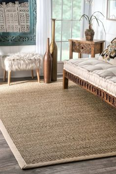 """The Jute fiber, also known as the """"Golden Fibre"""", is known for both its durability and comfort underfoot. Jute and other natural fiber rugs are a great addition to any room seeking a elegant yet classic look. Seagrass Rug, Jute Rug, Seagrass Carpet, Border Rugs, Natural Fiber Rugs, Natural Texture, Natural Rug, Home Office Space, Round Area Rugs"""