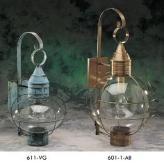 Traditions 611 & 601 Brass Traditions Lighting 611 Onion Wall Lantern in Verde Green and 601 Onion Wall Lantern in Antique Brass Beach House Lighting, Coastal Lighting, Porch Lighting, Beach House Decor, Outdoor Lighting, Home Decor, Lighting Ideas, Outdoor Wall Lantern, Outdoor Wall Sconce