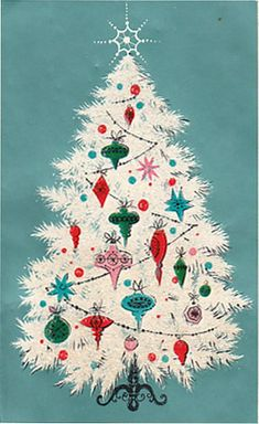 Vintage christmas - love the colors! Merry Little Christmas, Noel Christmas, Christmas Greetings, Winter Christmas, Christmas Crafts, 1950s Christmas, Holiday Cards, Retro Christmas Decorations, Retro Christmas Tree