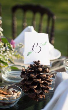 tablenumbers on a pine cone #gardenwedding #rusticwedding