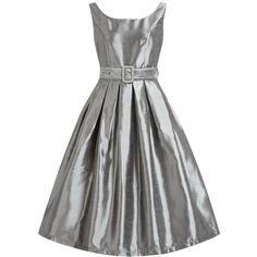 'Evelana' Pewter Gray Party Dress ($27) ❤ liked on Polyvore featuring dresses, grey, boat neck dress, pattern dress, pleated dress, slash neck dress and pewter cocktail dress