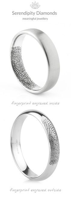 Two variations of the original fingerprint wedding ring from Serendipity Diamonds. Available from most locations Worldwide, we send clients paper and ink pad to prepare their prints before they are sent and faithfully added to the wedding rings creating a truly unique and affordable effect that is truly personal in meaning. #fingerprintring #fingerprintweddingring