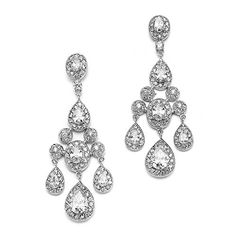 Mariell Vintage Glam CZ Wedding or Pageant Chandelier Earrings with Oval-Cut Gems & Pear-Shaped Dangles