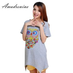 e62527cfa3847 Amadrenino Maternity Tee Shirt Clothes Summer Print Owl Fashion Solid Loose  Shirts for Pregnant Mother Grey