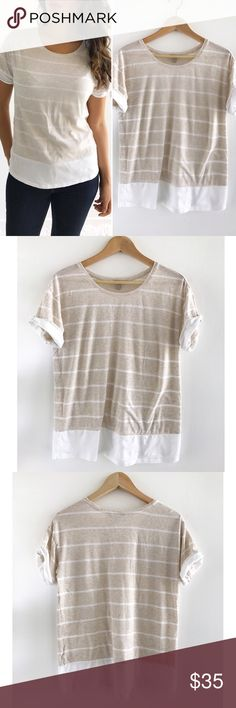 """Banana Republic Soft Striped Shirt Banana Republic Soft Striped Shirt! This top looks great with skinny jeans or short, with flats. Excellent condition. Super comfortable. Material tag has been removed. Chest-38"""" length-25"""". Size medium. Banana Republic Tops Tees - Short Sleeve"""